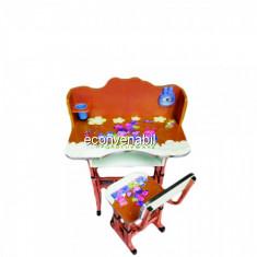 Birou Copii cu Masuta, Polita si Scaun KT0042 Portocaliu - Masuta/scaun copii