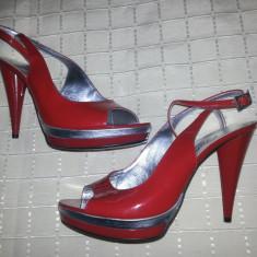 Sandale elegante din piele rosii marime 38 - Sandale dama, Culoare: Rosu