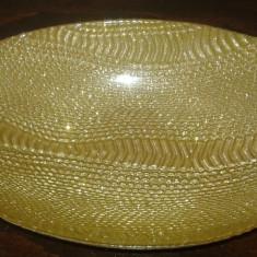 Fructiera/Centru de masa AKCAM TURCIA Cristal Semicristal aurit - Fructiera sticla