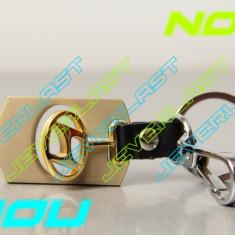 NOU Breloc auto Hyundai auriu cu PIELE